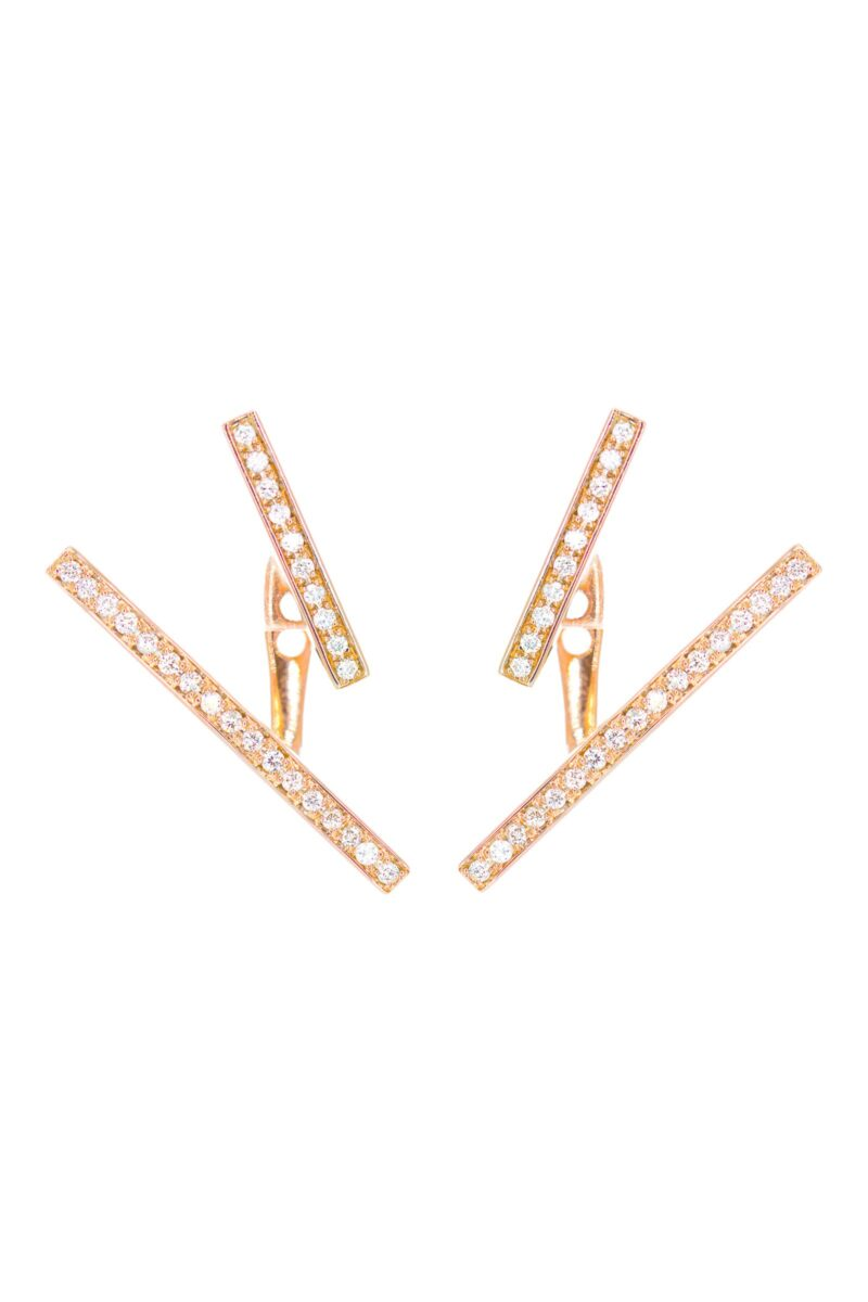 VON KRONBERG The Line Ohrschmuck, 18 Karat nachhaltiges Roségold, im Labor gezüchtete Diamanten