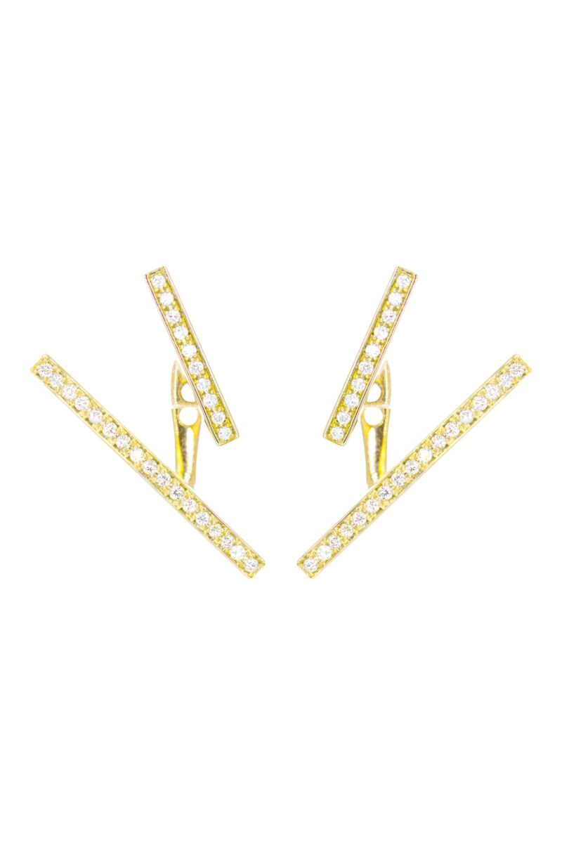 VON KRONBERG The Line Ohrschmuck, 18 Karat nachhaltiges Gold, im Labor gezüchtete Diamanten