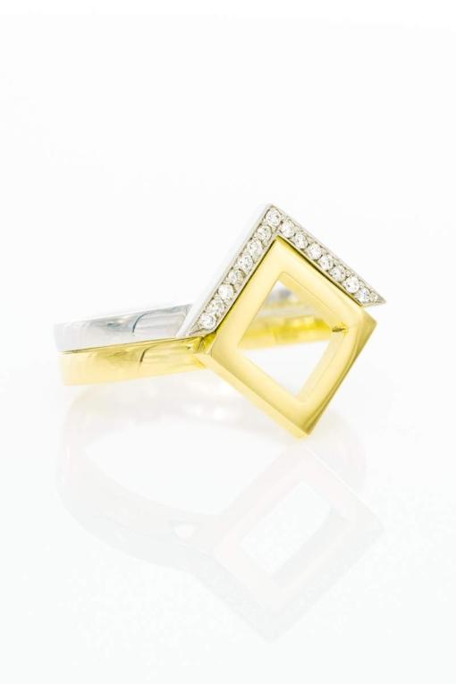 Ring Square, Gelbgold kombiniert mit Ring Victory, Weißgold mit Brillanten