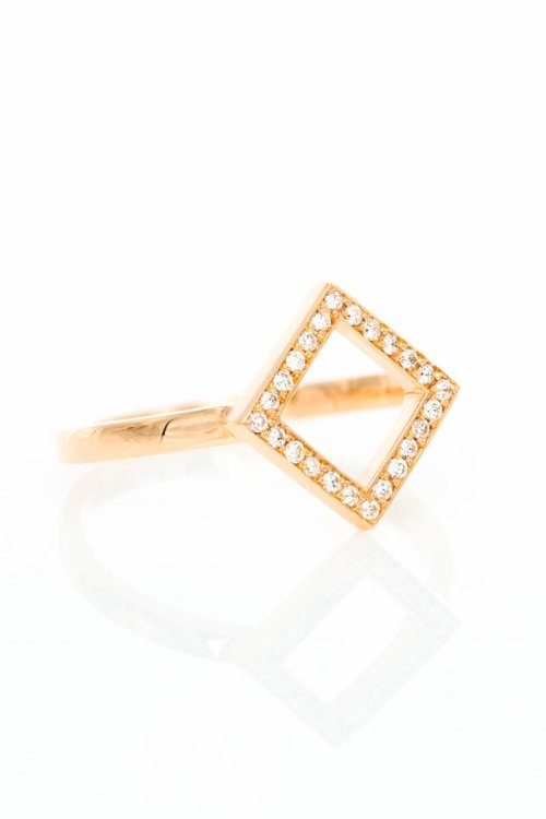 Ring Square, Rotgold mit Brillanten