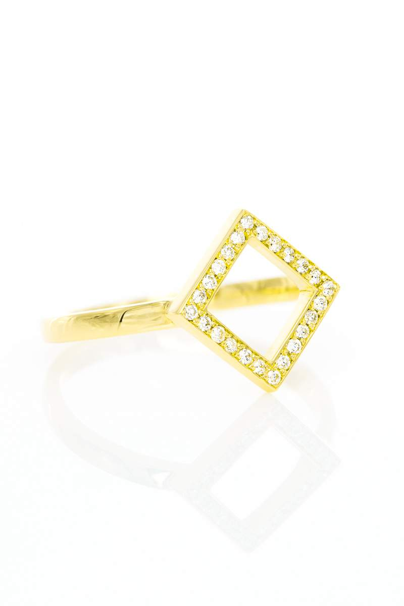 Ring Square, Gelbgold mit Brillanten