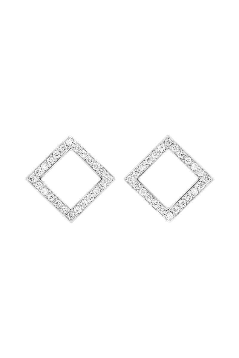 VON KRONBERG Square Ohrstecker, 18 Karat nachhaltiges Weißgold, im Labor gezüchtete Diamanten