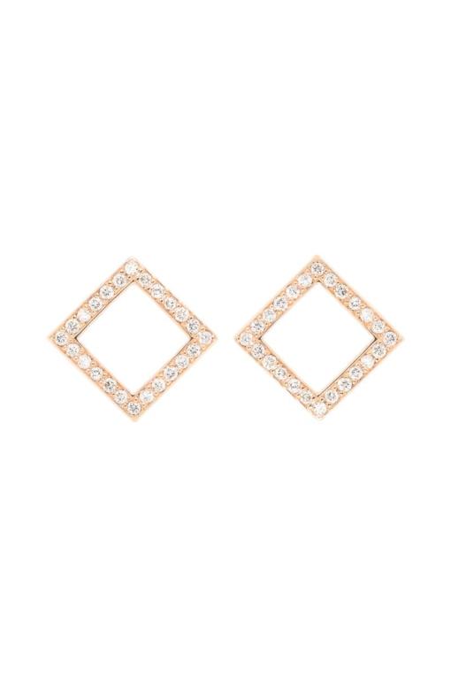 VON KRONBERG Square Ohrstecker, 18 Karat nachhaltiges Rotgold, im Labor gezüchtete Diamanten