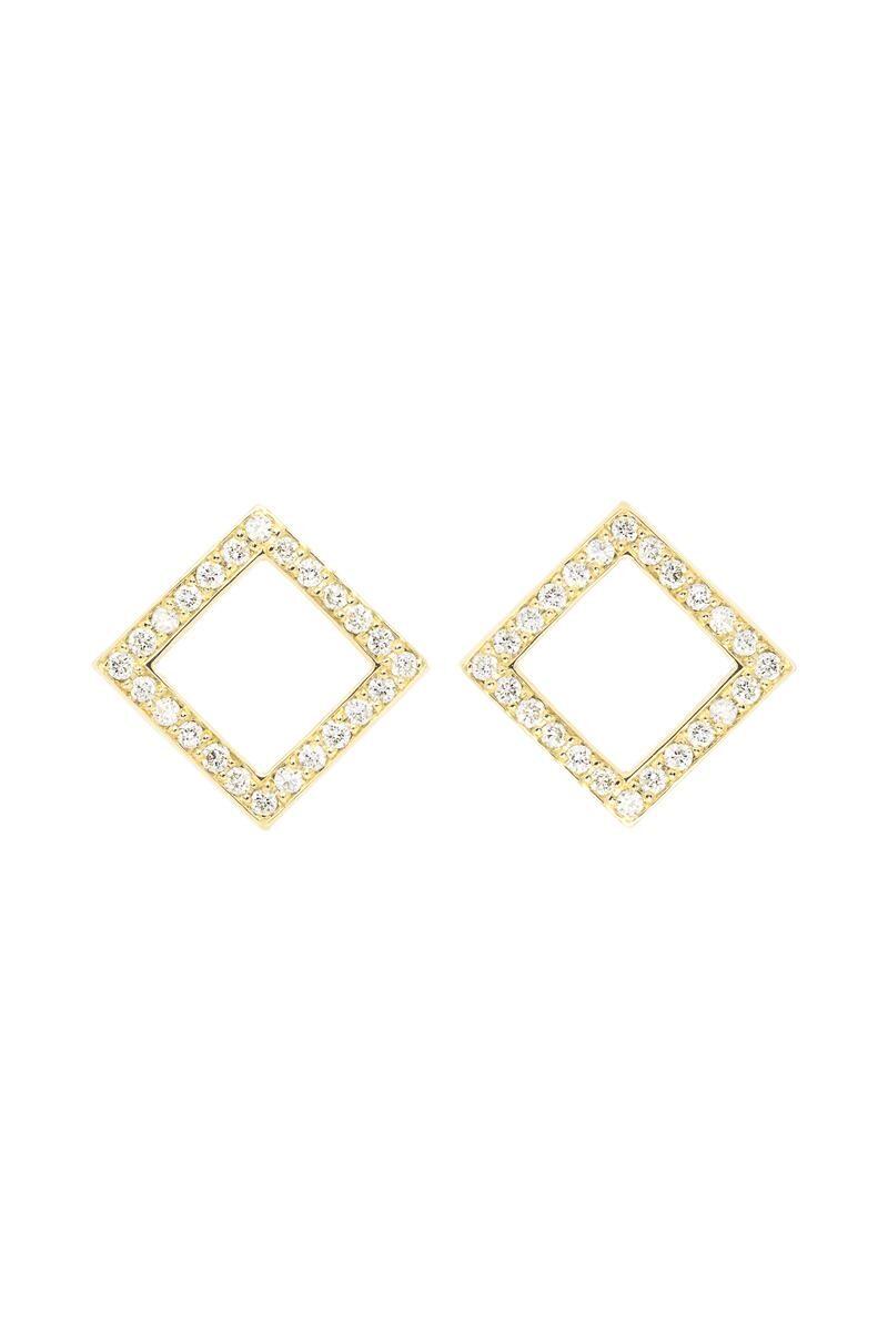 VON KRONBERG Square Ohrstecker, 18 Karat nachhaltiges Gold, im Labor gezüchtete Diamanten