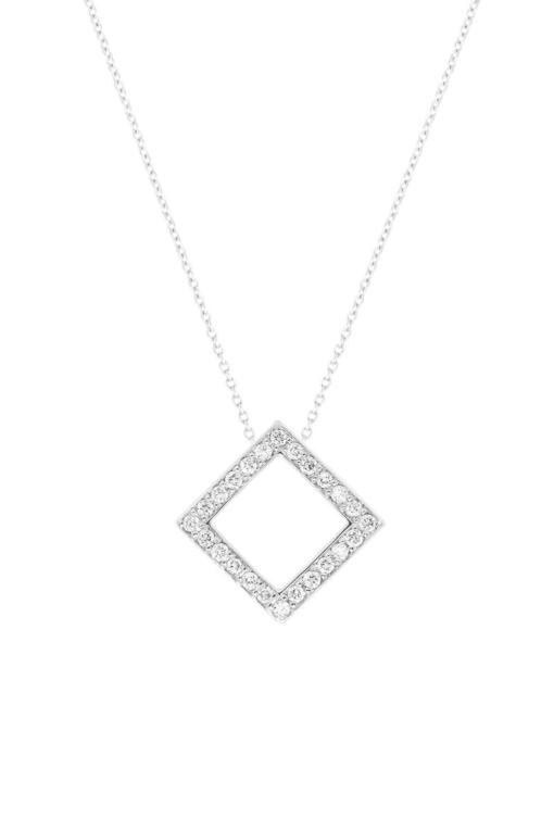 VON KRONBERG Square Collier, 18 Karat nachhaltiges Weißgold, im Labor gezüchtete Diamanten