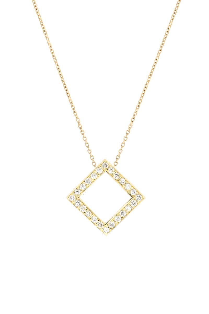 VON KRONBERG Square Collier, 18 Karat nachhaltiges Gold, im Labor gezüchtete Diamanten