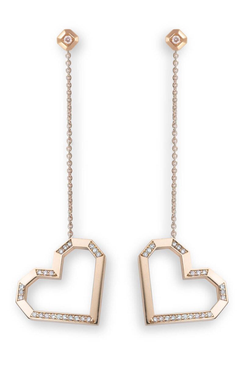 VON KRONBERG PURE LOVE Ohrringe, 18 Karat nachhaltiges Roségold, im Labor gezüchtete Diamanten