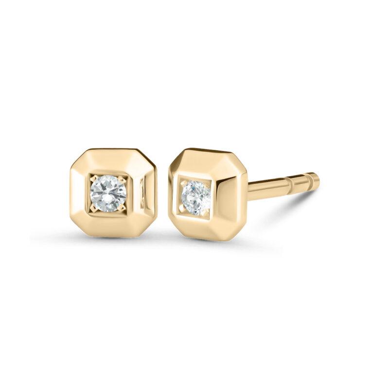Minimalistische Octagon Diamant Ohrstecker aus 18 Karat (750) recyceltem Gelbgold mit polierten Facetten