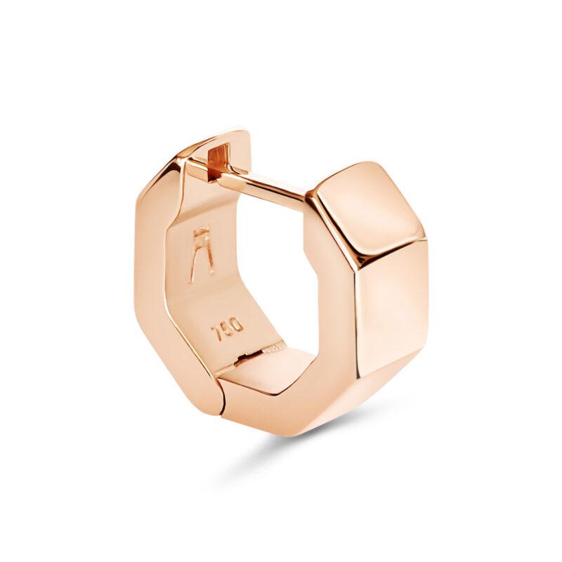 Puristischer Octagon Designer Ohrring aus 18 Karat (750) recyceltem Roségold mit polierten Facetten