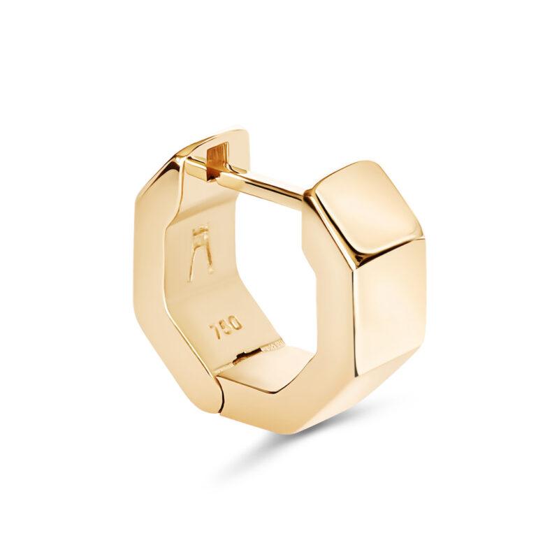 Puristischer Octagon Designer Ohrring aus 18 Karat (750) recyceltem Gelbgold mit polierten Facetten