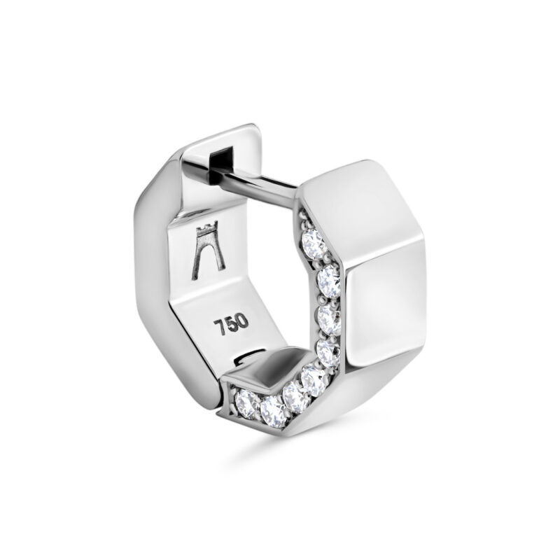 Puristischer Octagon Diamant Ohrring aus 18 Karat (750) recyceltem Weißgold mit polierten Facetten