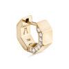 Puristischer Octagon Diamant Ohrring aus 18 Karat (750) recyceltem Gelbgold mit polierten Facetten